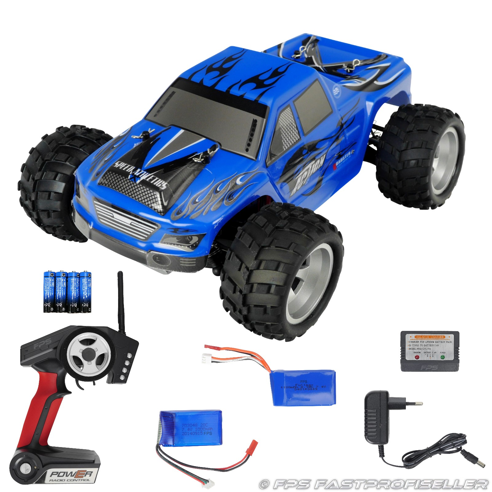 RC Monstertruck Elektro Auto Offroad A979 2.4 GHz 1:18 48kmh 2x LiPo ...